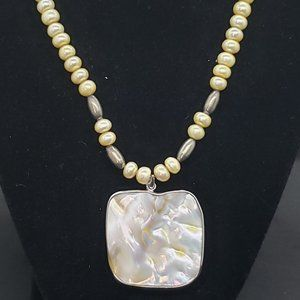 Faux Pearl & Shell Pendant Necklace Beaded Square